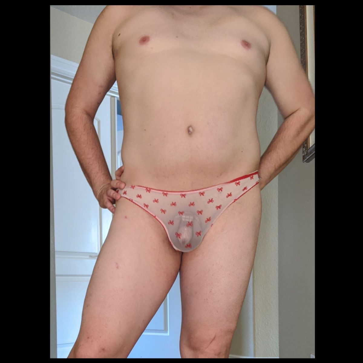You can see his little cock cage through the panties. hahaha
